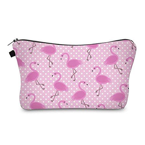 Bonamana Einhorn Flamingo Muster Große Kapazität Bleistift Tasche Kulturbeutel Kosmetik Make-up Tasche Tasche Organizer für Reise (Flamingo) Flamingo-muster
