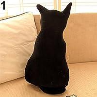 KaariFirefly Cojín para asiento de sofá, diseño de gato, negro, 30 cm