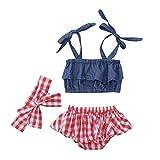 Riou Kinder Baby Mädchen Set Denim Tops + Spitzen Gitter Shorts+Haarband 3PC Set Kleidung Shortsset Sommerkleidung Kindermode (24M, Blau)