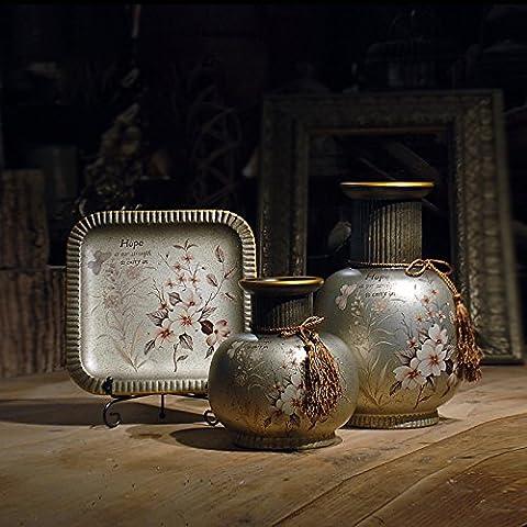 Vasi In Ceramica Phoenix Drago Seaview Ornamenti Fugui Champagne Set Di 3 - Vase Trio