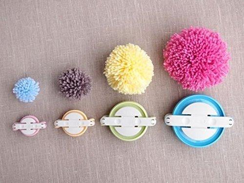 4Größen Easy Wrap Pompon Pom Pom Maker für Fluff Ball DIY Wolle Strick-Craft Werkzeug Set (zufällige Farbe) (Kleine Pom-pom-maker)