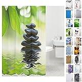 Sanilo Duschvorhang, Viele Schöne Duschvorhänge zur Auswahl, Hochwertige Qualität, inkl. 12 Ringe, Wasserdicht, Anti-Schimmel-Effekt (Harmony, 180 x 180 cm)