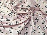 Cute Panda Print Baumwolle Kleid Stoff pink–Meterware