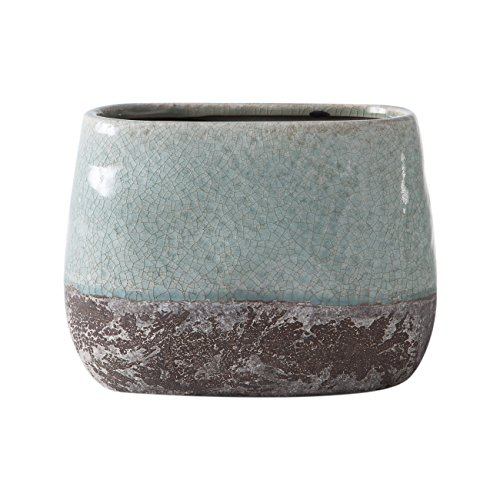 Torre & Tage 902111b Corse en céramique craquelé 2 tons ovale Pot de hauteur, Bleu