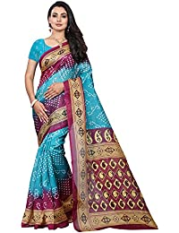Floral Trendz Women Printed Cotton Silk Saree With Blouse Piece (705_Free Size)
