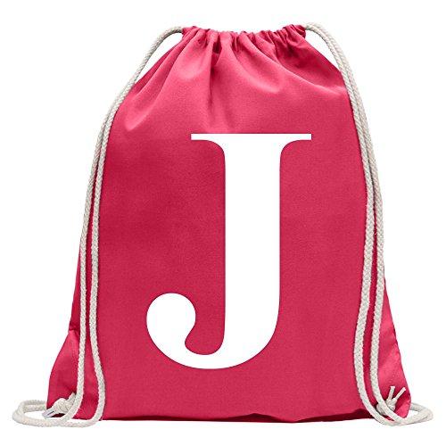 KIWISTAR - Buchstabe J - Alphabet Turnbeutel Fun Rucksack Sport Beutel Gymsack Baumwolle mit Ziehgurt (J-rucksack Buchstaben)