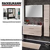 Fackelmann Badmöbel Set B.Clever 3-tlg. 120 cm esche mit Waschtischunterschrank inkl. Gussmarmorbecken & Hochschrank & Spiegelelement
