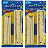 Signature Enterprises Handicrafts And Gallery Wooden Pencils Set Box - Design Art Wood Pencil Box Set Fro Kids & Office Use Set Of 14 (Pack Of 2)