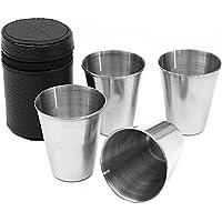 asdomo 4pcs/juegos 75ml–vasos de vino taza de agua de acero inoxidable al aire libre Metal té café Beber Vasos de chupito Barware 2,5oz copa (funda incluida)