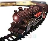 Locomotive a vapeur 'FENFA' avec son et lumiere - Locomotive electrique et 4 voitures ferroviaires - Trains ensemble electrique - Longueur du chemin de fer de plus de 10 m