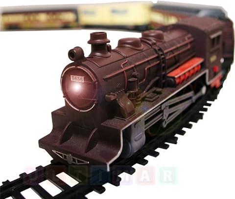 Locomotive a vapeur 'FENFA' avec son et lumiere - Locomotive electrique et 4 voitures ferroviaires - Trains ensemble electrique - Longueur du chemin de fer de plus de 10