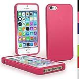 igadgitz Rosa Case TPU Gel Funda Cover Carcasa para Nuevo Apple iPhone SE 5S 5 Teléfono Móvil 4G LTE + Protector de pantalla (no apto para iPhone 5C)