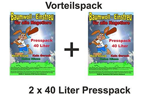 Baumwolleinstreu 80 l Presspack, Vorteilspack Hamster, Mäuse , Zwergkaninchen, Meerschweinchen, Einstreu für Nager