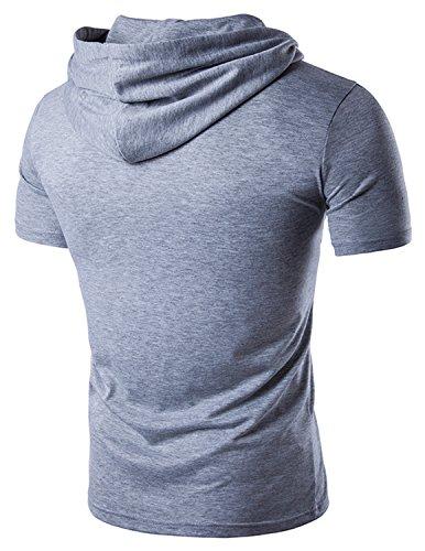 YCHENG Herren Sommer Kurzarm Freizeit T-Shirt mit Kapuze Tops Bluse Grau