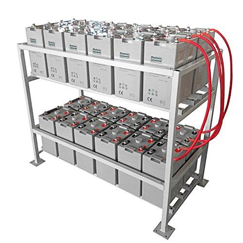 48 Bank (24kWh 48V 500Ah AGM Deep Cycle Akku Bank, mit Metall, (aufzustellen 24x 2V Batterien) für große Solar, Wind, netzferne stromsysteme oder Haushalt/Notfall Energie Aufbewahrung)