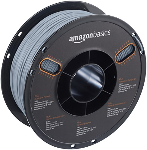 AmazonBasics - PLA 3D-Drucker Filament, 1,75 mm, Grau, 1 kg Spule