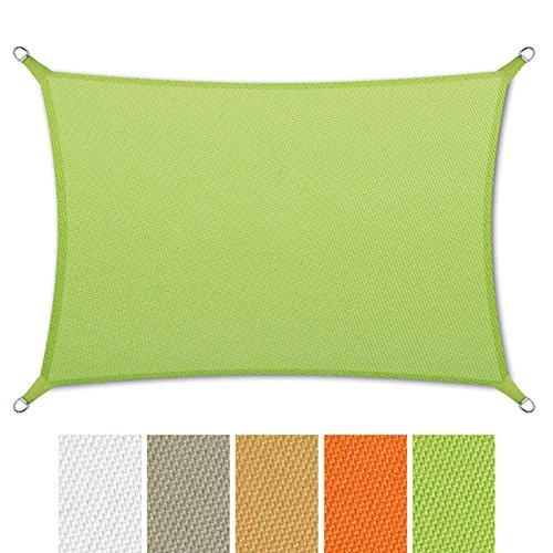casa pura Sonnensegel Wasserabweisend imprägniert | Rechteck | Testnote 1.4 | UV Schutz | Verschiedene Farben und Größen (Grün, 5x7m)