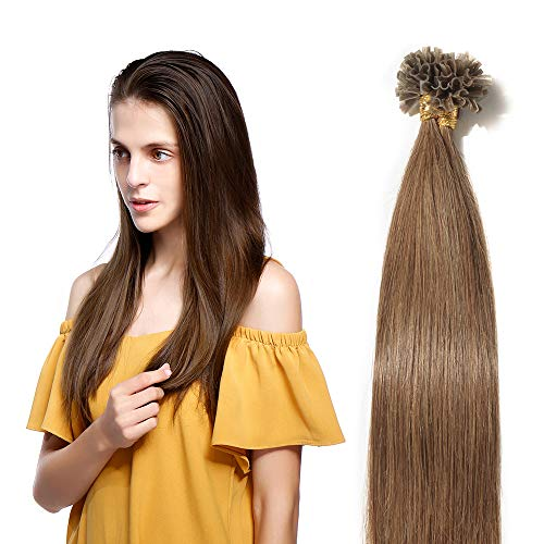 Extensions Keratine Pose a Chaud Extension Cheveux Naturel 100 Mèches/50g #06 Châtain clair - Pre Bonded Nail U Tip Remy Human Hair Extensions - 50cm