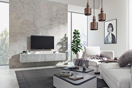 Wuun TV Board hängend/8 Größen/5 Farben/100cm Matt Weiß- Beton/Lowboard Hängeschrank Hängeboard Wohnwand/Hochglanz & Naturtöne/Somero Bild 2*