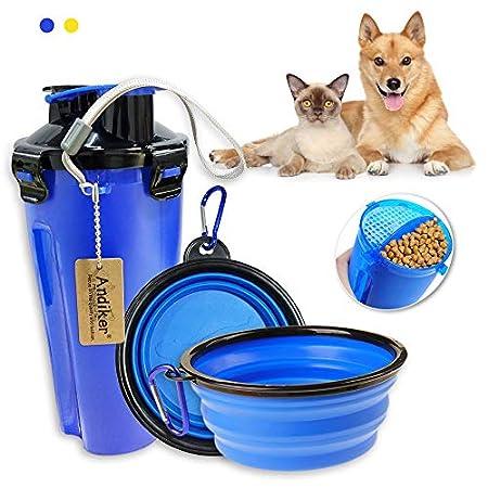 Andiker Haustier-Wasserflasche, tragbare Reise-Futter-Container und Wasserflasche für Hunde, 2 in 1, auslaufsicher, mit…
