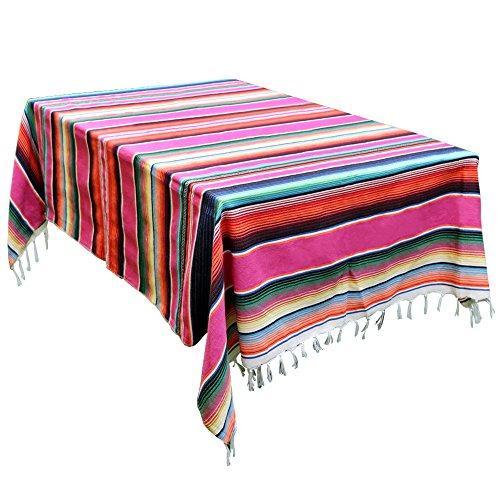 Aparty4u 150x215cm Colorful Mexikanische Tischdecke Decken Quaste aus Baumwolle Sarape Tisch Cover für Mexikanischen Party Home Hochzeit Dekoration (Decke Vorhänge Mexikanische)