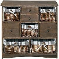Mueble cajonera cajón de la cómoda de 8 cajones cestas de mimbre de color marrón vintage viejo (0-1665B)