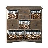 Mobili Rebecca® Sideboard Küchenschrank Badschrank 9 Schubladen 5 Weidenkörbe Dunkelbraun Landhausstil Shabby Vintage (Code RE4021)