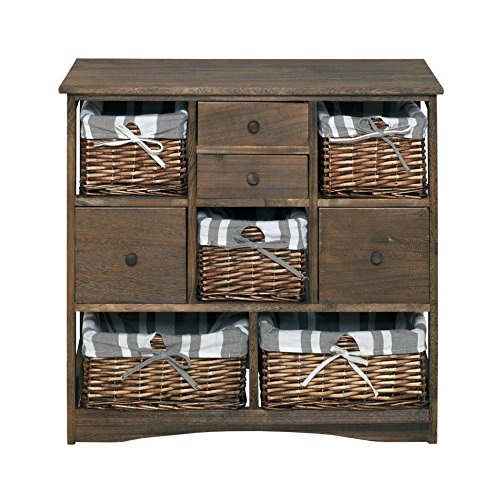 Rebecca srl credenza cassettiera mobile 9 cassetti cestini vimini legno marrone country vintage salotto cucina (cod. 0-1665b)