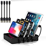 Multiple Cell Phone Iphone Ipad Charging Station with Cords 5V 40W 4 Port