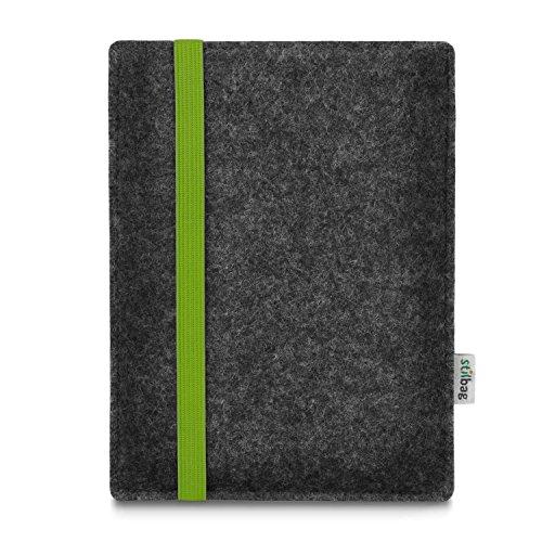 stilbag e-Reader Tasche Leon für Amazon Kindle Oasis (9. Generation), Wollfilz anthrazit - Gummiband grün