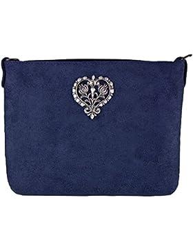 Wildleder Trachten Tasche mit Metallherz zum Umhängen - Sehr schöne Umhängetasche zu Dirndl und Lederhose mit...