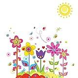 sourcing map Fenster Zimmer Kunst Aufkleber PVC Blume Sonne Muster Wandaufkleber Tapete 70 x 50cm