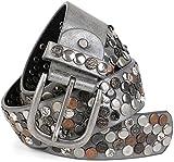 styleBREAKER Nietengürtel im Vintage Design mit echtem Leder, verschiedenen Nieten und Strass, kürzbar, Damen 03010051, Farbe:Antik-Grau;Größe:95cm
