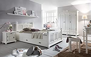 Holzbett Massivholzbett Bett Fichte weiss FREIBURG mit Schubkasten 120x200 NEU