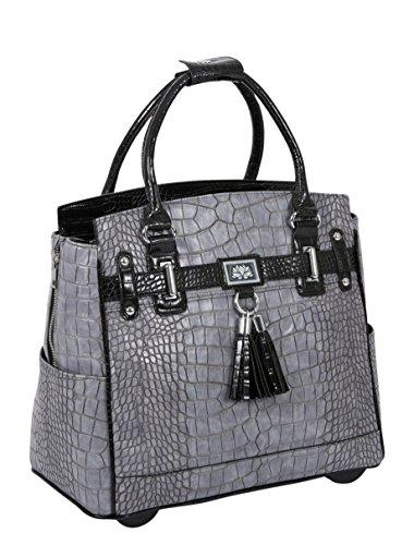 Damen-Trolley / -Handtasche Brieftasche mit Rollen für iPad, Tablet oder Laptop, Alligator-Optik, Grau und Schwarz Laptoptrolley