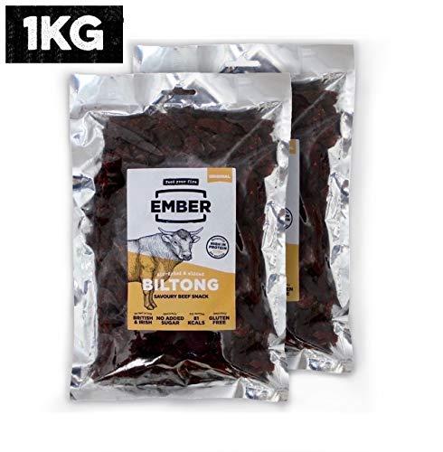 Ember Biltong Wiederverschließbarer 1KG Großbeutel - Beef Jerky Original - Proteinreicher Snack - Original (2x500g)
