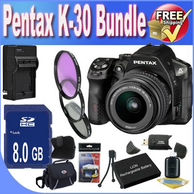 Pentax K30 Digital Camera With 18-55mm AL Lens Kit (Black) + 8GB SDHC Class 10 Memory Card + Extended Life Battery Accessory Saver Bundle! - B0091IHS4S