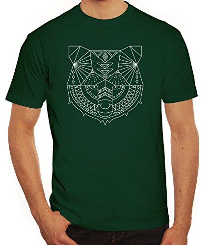 Tier Herren T-Shirt mit Polygon Bär Motiv von ShirtStreet Dunkelgrün