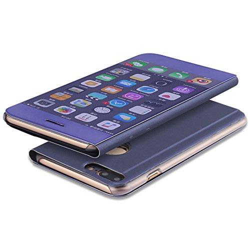 Meimeiwu Clear View Flip Custodia Cover con Funzione Kickstand [Sleep/Wake Funzione] Ultra-Sottile Specchio Traslucido Smart Cover per iPhone 7 - Argento Porpora