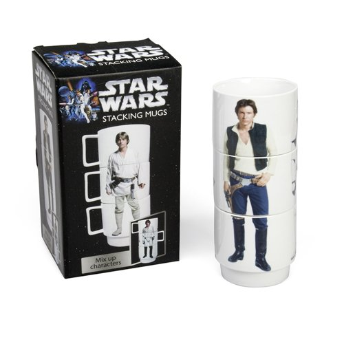 Star Wars SW35746 - Set de 3 tazas apilables, color blanco y negro