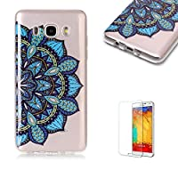 For Samsung Galaxy J710/J7 2016 Case [with Free Screen Protector],Funyye Fashion lovely Lightweight Ultra Slim Anti Scratch Transparent Soft Gel Silicone TPU Bumper Protective Case Cover Shell for Samsung Galaxy J710/J7 2016 - Blue Flower