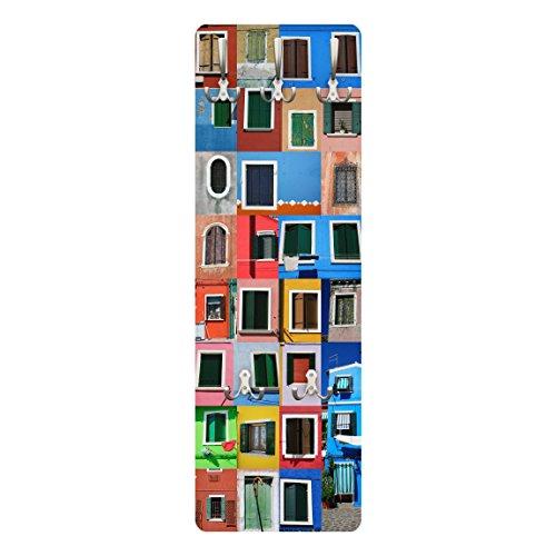 BIlderwelten 78855 Wandgarderobe Fenster der Welt | Design Garderobe Garderobenpaneel Kleiderhaken Flurgarderobe Hakenleiste Holz Standgarderobe Hängegarderobe | 139x46cm
