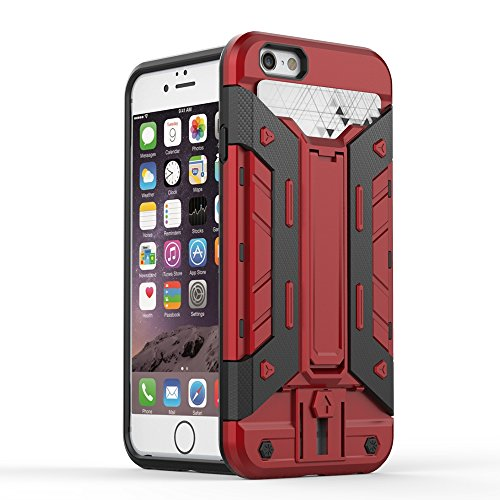 IPHONE 7 Coque,EVERGREENBUYING [Robot-Armor] léger 2 en 1 iPhone7 Cases [Metal Slate] Housse Etui Premium Kickstand Bumper Hard Shell Back Coque Case Pour iPhone 7 4.7 inch Gris Rouge