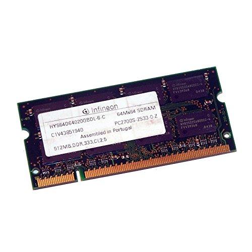 512MB Ram Laptop SODIMM Infineon hys64d64020gbdl-6-c DDR1PC-2700333MHz -