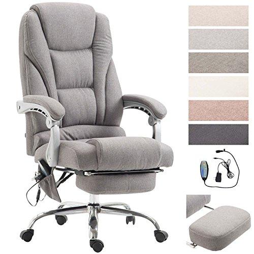 Clp sedia da ufficio massaggiante pacific, poltrona relax con poggiapiedi estraibile, altezza regolabile, in tessuto, ergonomica, girevole, con ruote, capacità di carico massimo 150 kg grigio