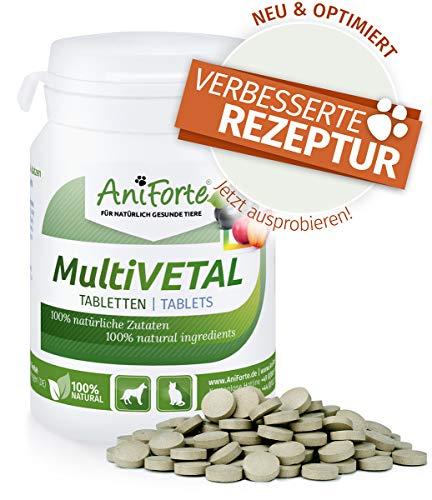 100 Tabletten Natürlich Vitamine (AniForte MultiVETAL Multivitamin für Hunde, Katzen 100 Tabletten - Natürliche Multi-Vitamine und Nährstoffe für eine optimale Versorgung, Unterstützung der natürlichen Abwehrkräfte)