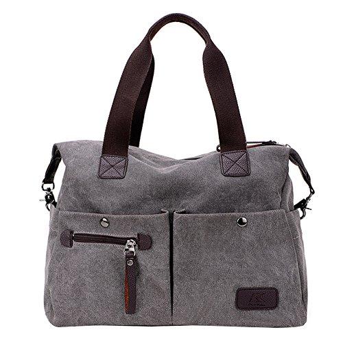PB-SOAR Unisex Vintage Canvas Shopper Schultertasche Umhängetasche Handtasche Reisetasche (Grau) (Schulter Vintage Handtasche)