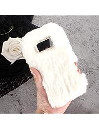 Sycode Plüsch Hülle für Huawei Mate 10,Pelzig Flauschige Hase Cover für Huawei Mate 10,Pelzigen Kaninchen Bunny Pelz Flauschigen Weichen Case Schutzhülle Dünne Schale für Huawei Mate 10-Weiß