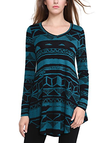 BAISHENGGT Damen Bumenmuster Langarmshirt A-Linie Hem Tunika Stretch Longshirts Blau XXL (Paisley Top Print)