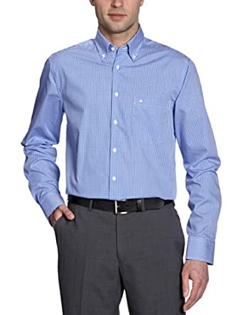 Seidensticker Herren Hemd/ Business 2572, Gr. 39 CM (M), Mehrfarbig (19 Karo blau weiß)